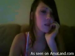 Nasty Brunette Teen Playing With Her Tits And Pussy For The Webcam