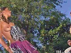 Skinny Brunette Cheerleader Pussy Pounded In The Backyard